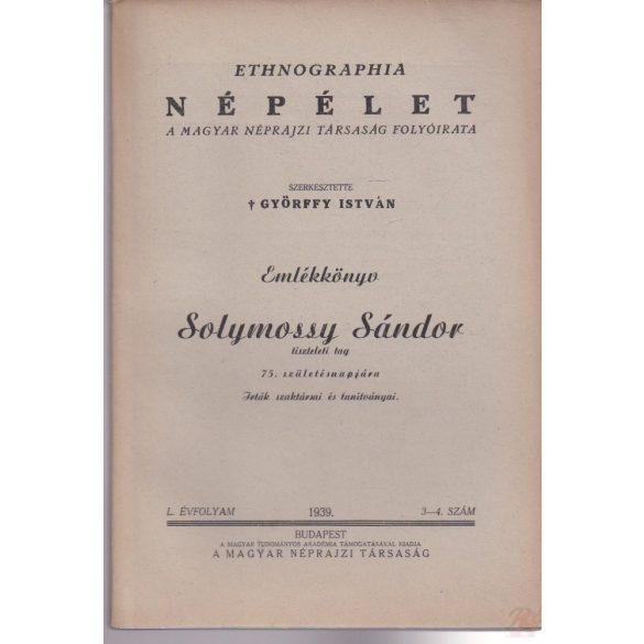 ETHNOGRAPHIA - NÉPÉLET 1939/3-4. szám