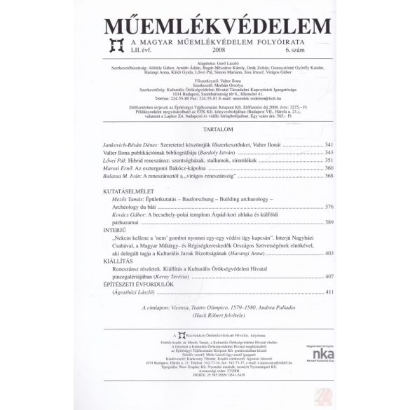 MŰEMLÉKVÉDELEM - LII. évf., 2008/6.