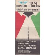 HONGRIE-HUNGARY-UNGARN-UNGHERIA CARTE ROUTIERE-ROAD MAP... 1974