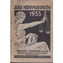 JOGI KÖNYVJEGYZÉK 1933