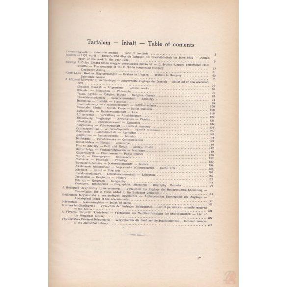 A FŐVÁROSI KÖNYVTÁR ÉVKÖNYVE II. 1932