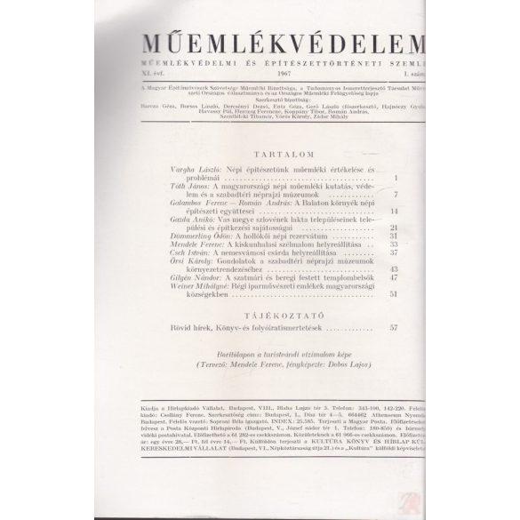 MŰEMLÉKVÉDELEM - XI. évf., 1967/1.