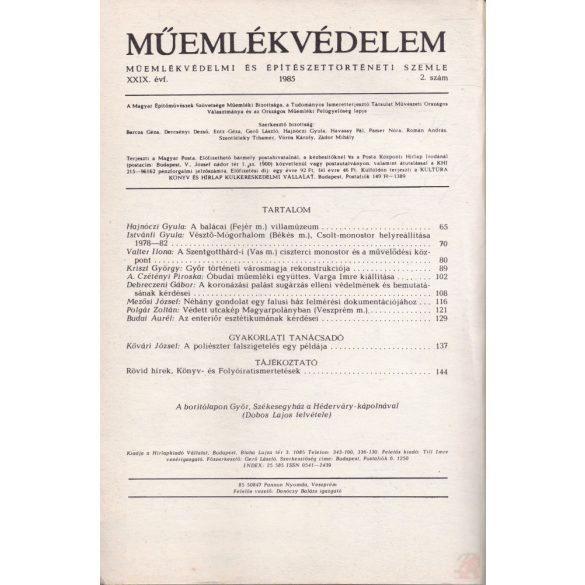 MŰEMLÉKVÉDELEM - XXIX. évf., 1985/2.