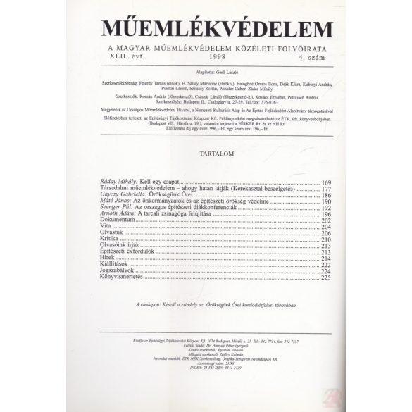 MŰEMLÉKVÉDELEM - XLII. évf., 1998/4.