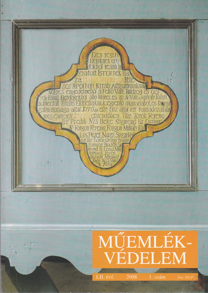 MŰEMLÉKVÉDELEM - LII. évf., 2008/1.
